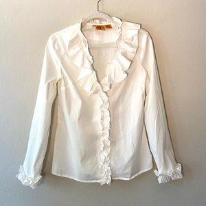 Tory Burch White Ruffle Button Down Shirt